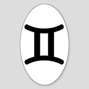 Gemini Symbol Oval Sticker