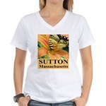 Sutton Massachusetts Butterfly Women's V-Neck T-Sh