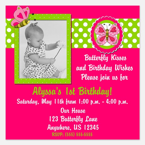 Butterfly Girls Birthday Invitation 5.25 x 5.25 Fl