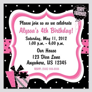 Black And Pink Girls Birthday Invitation 525 X 5