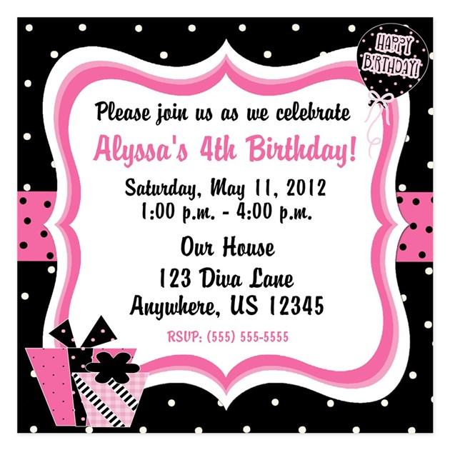 May The 4th Be With You Invitations: Black And Pink Girls Birthday Invitation Invitations By