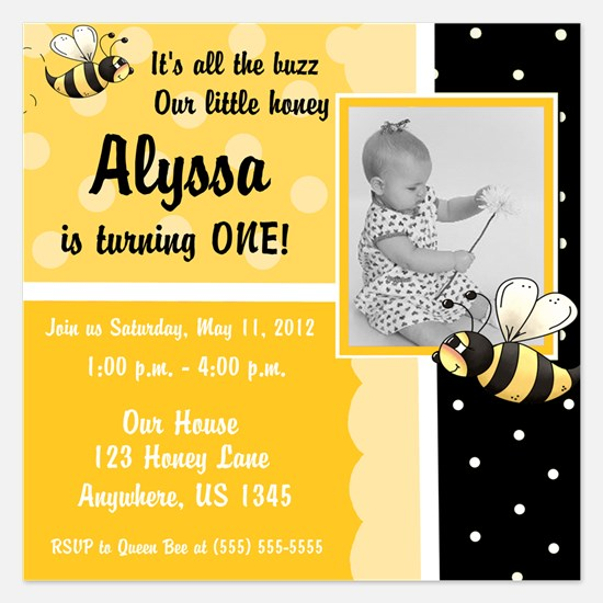 Bumble Bee Girls Birthday Invitation 5.25 x 5.25 F