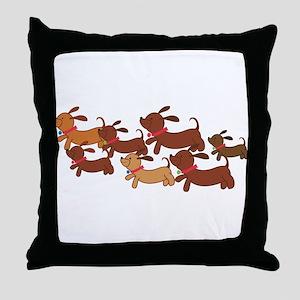 Running Weiner Dogs Throw Pillow