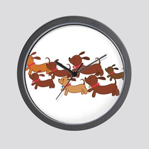 Running Weiner Dogs Wall Clock