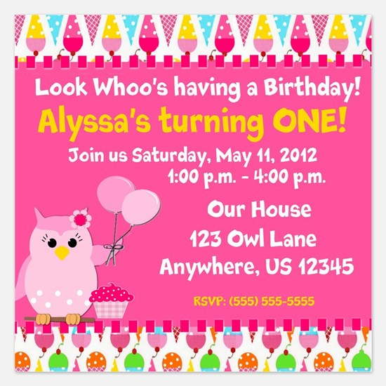 Girls Birthday Owl Invitation 5.25 x 5.25 Flat Car