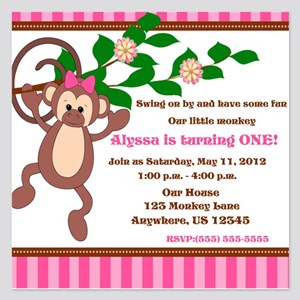 Monkey Pink Girl Invitation 525 X Flat Cards