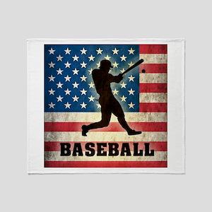 Grunge USA Baseball Throw Blanket