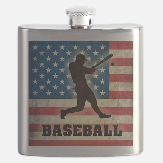 Grunge USA Baseball Flask