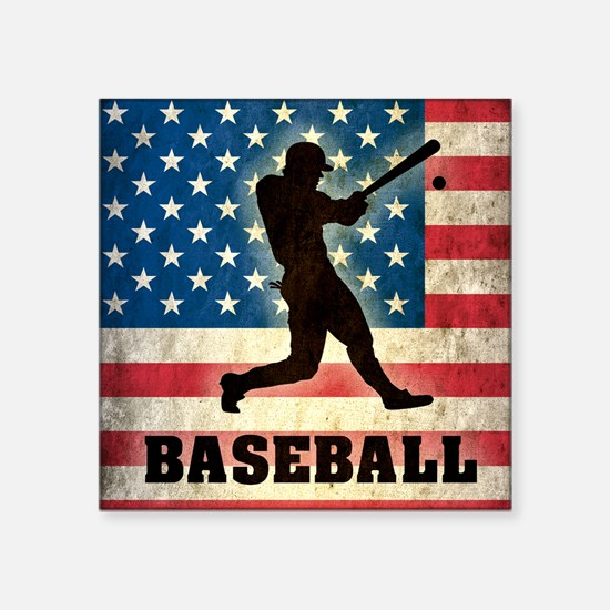 """Grunge USA Baseball Square Sticker 3"""" x 3"""""""
