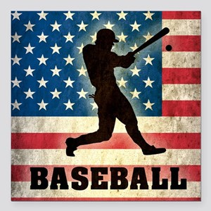 "Grunge USA Baseball Square Car Magnet 3"" x 3"""