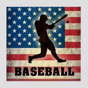 Grunge USA Baseball Tile Coaster