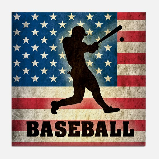 Grunge USA Baseball Tile Coaster