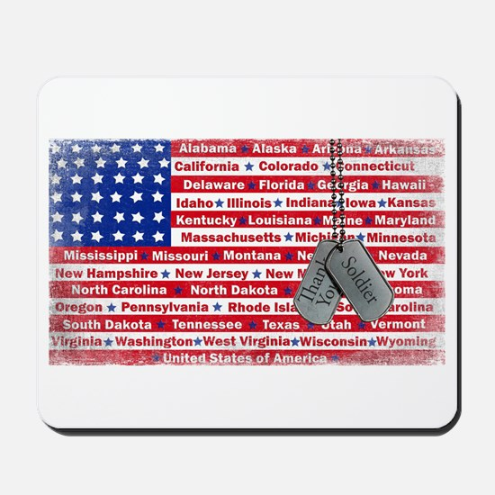 Thank You Soldier Dog Tags Mousepad
