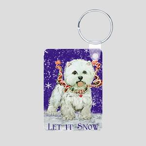 West Highland Let it Snow Aluminum Photo Keychain