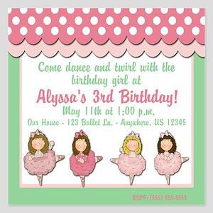 Ballet Birthday Invitation 5.25 x 5.25 Flat Cards