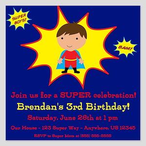 Super Kids Invitation 5.25 x 5.25 Flat Cards