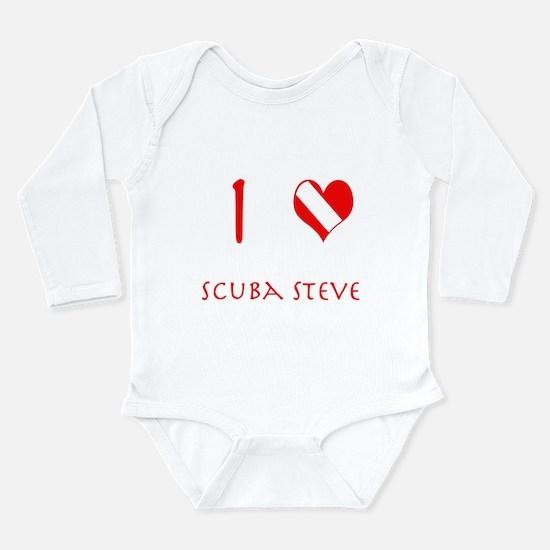 I Love Scuba Steve (red) Long Sleeve Infant Bodysu