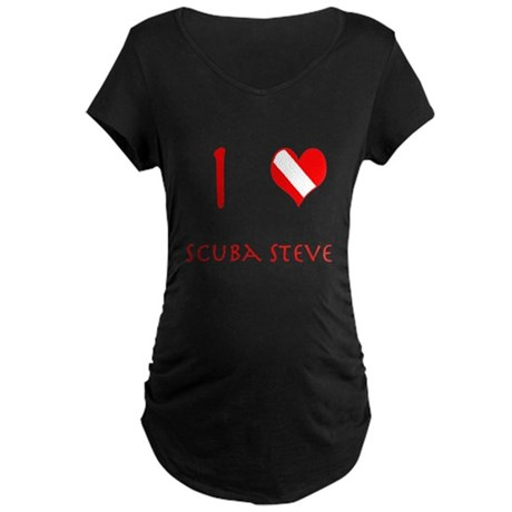 I Love Scuba Steve (red) Maternity Dark T-Shirt
