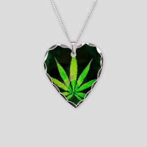 Dark Grunge Weed Necklace Heart Charm
