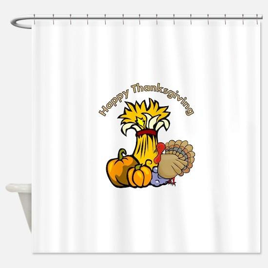Happy Thanksgiving Pumpki... Shower Curtain