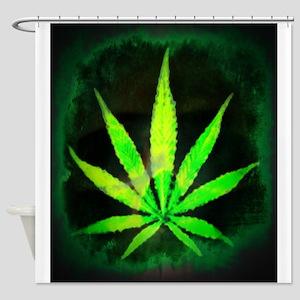 Dark Grunge Weed Shower Curtain