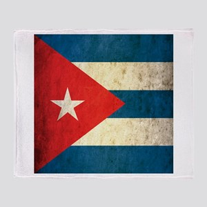 Grunge Cuba Flag Throw Blanket