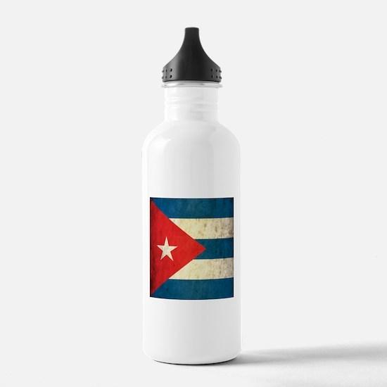 Grunge Cuba Flag Water Bottle