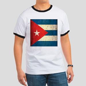 Grunge Cuba Flag Ringer T