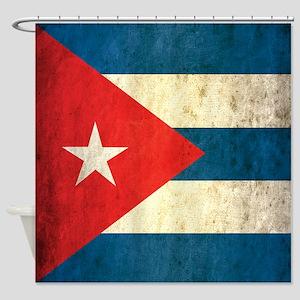 Grunge Cuba Flag Shower Curtain