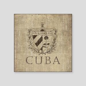 "Vintage Cuba Square Sticker 3"" x 3"""