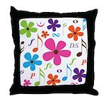 Music Funky Flower Throw Pillow