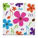 Music Funky Flower Tile Coaster