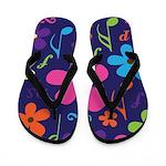 Music Flowered Flip Flops