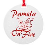Pamela On Fire Round Ornament