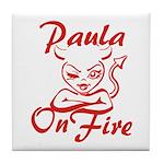 Paula On Fire Tile Coaster