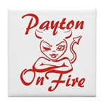 Payton On Fire Tile Coaster