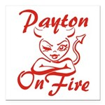 Payton On Fire Square Car Magnet 3