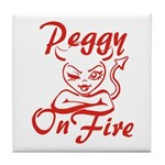 Peggy On Fire Tile Coaster