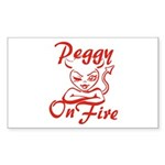 Peggy On Fire Sticker (Rectangle)
