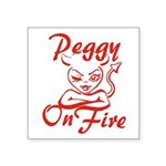 Peggy On Fire Square Sticker 3