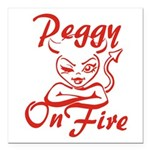 Peggy On Fire Square Car Magnet 3
