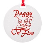 Peggy On Fire Round Ornament