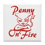 Penny On Fire Tile Coaster