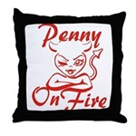 Penny On Fire Throw Pillow