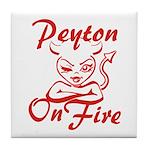 Peyton On Fire Tile Coaster