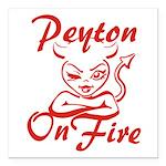 Peyton On Fire Square Car Magnet 3