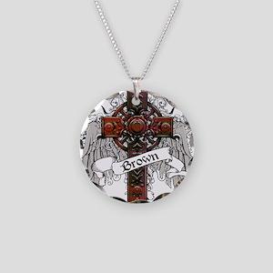 Brown Tartan Cross Necklace Circle Charm