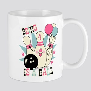 Pink Bowling Pin 4th Birthday Mug