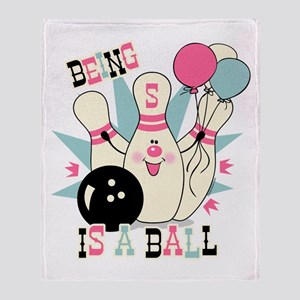 Pink Bowling Pin 5th Birthday Throw Blanket