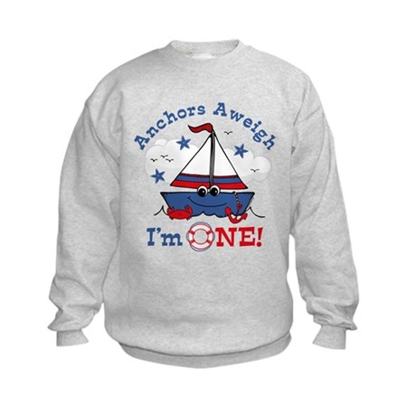 Little Sailboat 1st Birthday Kids Sweatshirt